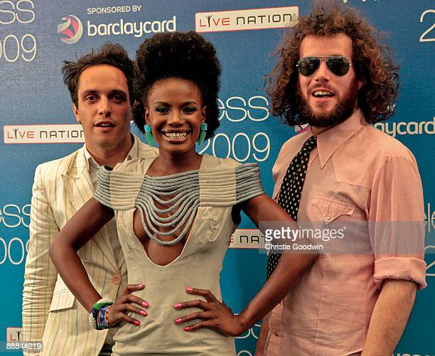 Dan Smith Shingai Shoniwa and Jamie Morrison of The Noisettes pose backstage on the second day of Wireless Festival at Hyde Park on July 5 2009 in...