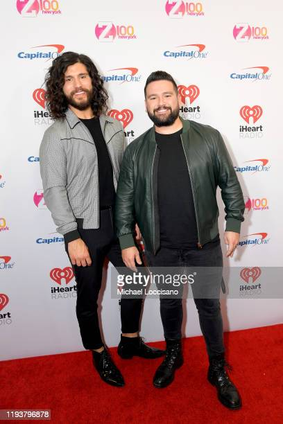 Dan Smyers and Shay Mooney arrive at iHeartRadio's Z100 Jingle Ball 2019 at Madison Square Garden on December 13 2019 in New York City