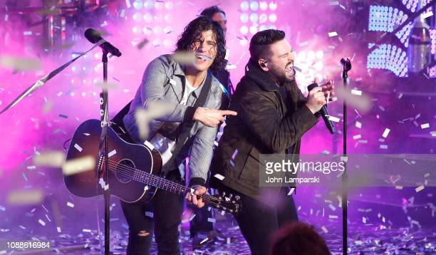 Dan Smyers and Shay Mooney of Dan and Shay perform during the Times Square New Year's Eve 2019 Celebration on December 31 2018 in New York City