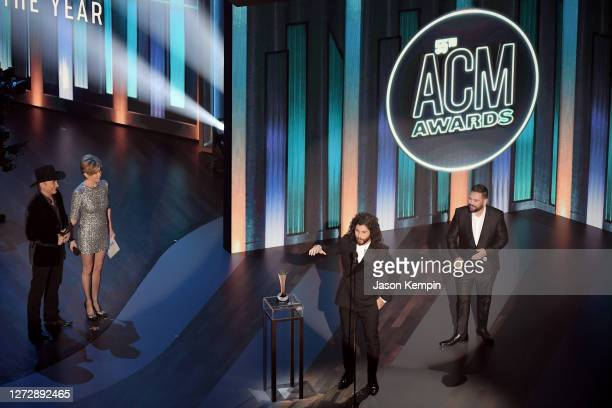 Dan Smyers and Shay Mooney of Dan + Shay accept the Best Duo of the Year award from Clint Black and Lisa Hartman Black onstage during the 55th...
