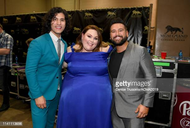 Dan Smyers and Shay Mooney of Dan Shay and Chrissy Metz attend the 54th Academy Of Country Music Awards at MGM Grand Garden Arena on April 07 2019 in...