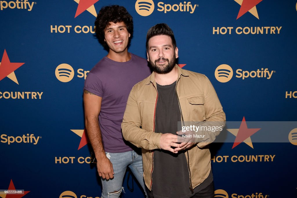 Dan Smyers and Shay Mooney of Dan + Shay attend the Spotify's Hot Country Live Series with Carrie Underwood, Dan + Shay and Filmore at Pier 17 on July 4, 2018 in New York City.