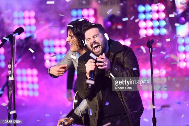 Dan Smyers and Shay Mooney of Dan Shay perform during New Year's Eve 2019 in Times Square on December 31 2018 in New York City