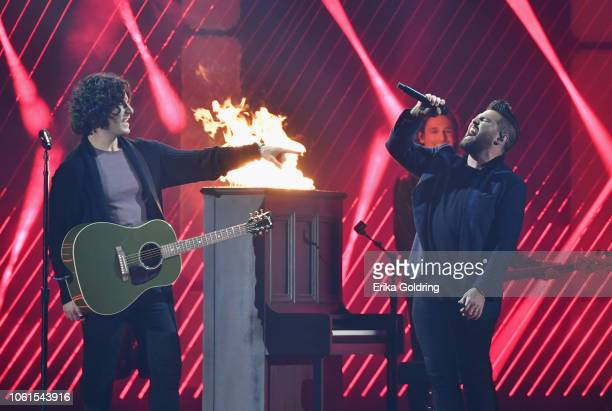 Dan Smyers and Shay Mooney of Dan Shay perform onstage during the 52nd annual CMA Awards at the Bridgestone Arena on November 14 2018 in Nashville...