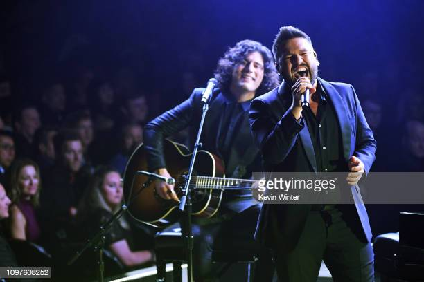 Dan Smyers and Shay Mooney of Dan Shay perform onstage during the 61st Annual GRAMMY Awards at Staples Center on February 10 2019 in Los Angeles...