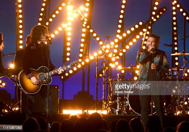 Dan Smyers and Shay Mooney of Dan Shay perform onstage during the 54th Academy Of Country Music Awards at MGM Grand Garden Arena on April 07 2019 in...