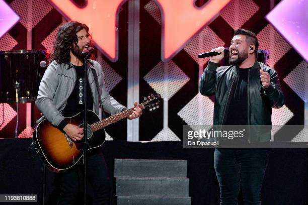 Dan Smyers and Shay Mooney of Dan + Shay perform onstage during iHeartRadio's Z100 Jingle Ball 2019 at Madison Square Garden on December 13, 2019 in...