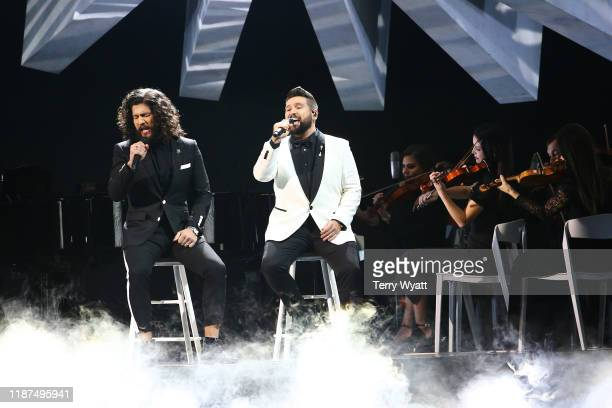 Dan Smyers and Shay Mooney of Dan + Shay performs onstage during the 53rd annual CMA Awards at the Music City Center on November 13, 2019 in...