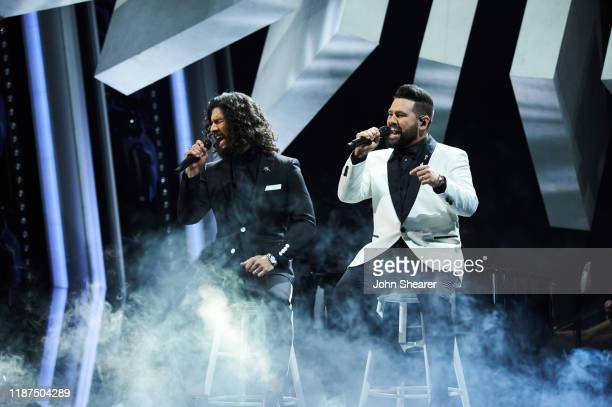 Dan Smyers and Shay Mooney of Dan Shay performs onstage during the 53rd annual CMA Awards at the Music City Center on November 13 2019 in Nashville...
