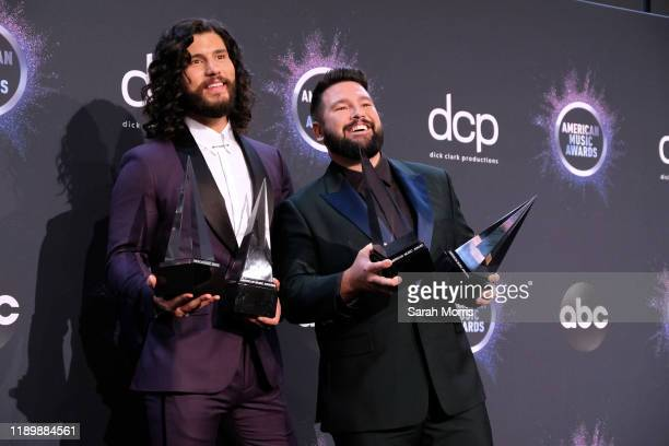 Dan Smyers and Shay Mooney of Dan Shay pose in the press room at the 2019 American Music Awards at Microsoft Theater on November 24 2019 in Los...
