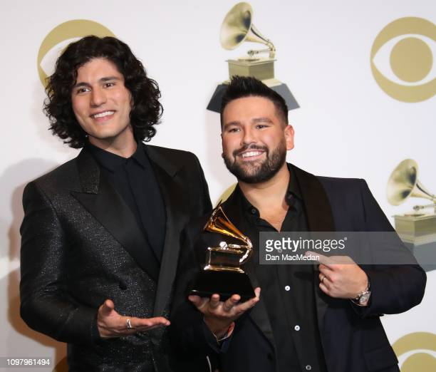 Dan Smyers and Shay Mooney of Dan Shay pose in the press room with their award for Best Country Duo/Group Performance during the 61st Annual GRAMMY...