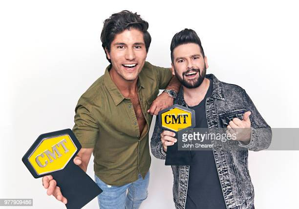 Dan Smyers and Shay Mooney of Dan Shay pose with CMT Award at the 2018 CMT Music Awards Show Portrait Studio at Bridgestone Arena on June 6 2018 in...