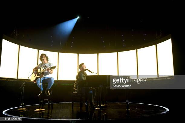 Dan Smyers and Shay Mooney of Dan Shay rehearse onstage during the 61st Annual GRAMMY Awards at Staples Center on February 07 2019 in Los Angeles...