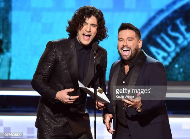Dan Smyers and Shay Mooney of Dan Shay speak onstage during the 61st Annual GRAMMY Awards at Staples Center on February 10 2019 in Los Angeles...