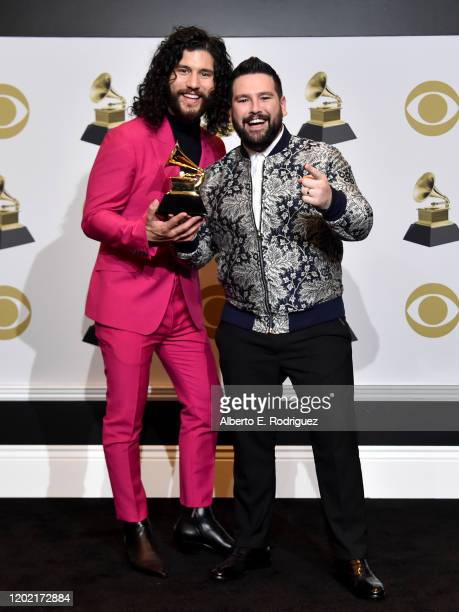 Dan Smyers and Shay Mooney of Dan Shay winner of Best Country Duo/Group Performance for Speechless pose in the press room during the 62nd Annual...