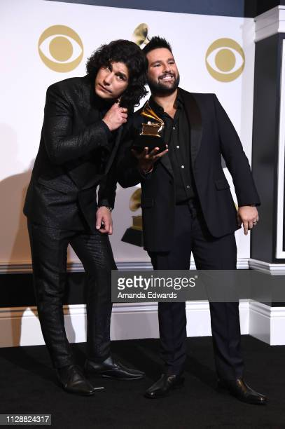 Dan Smyers and Shay Mooney of Dan Shay winners of Best Country Duo/Group Performance for 'Tequila' pose in the press room during the 61st Annual...