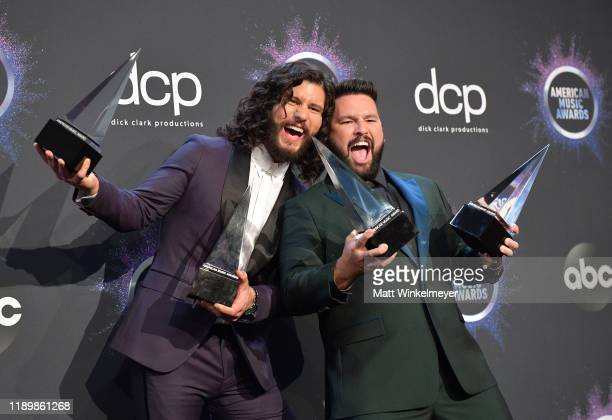 Dan Smyers and Shay Mooney of Dan Shay winners of the awards for Favorite Song Country award for 'Speechless' and Favorite Duo or Group – Country...