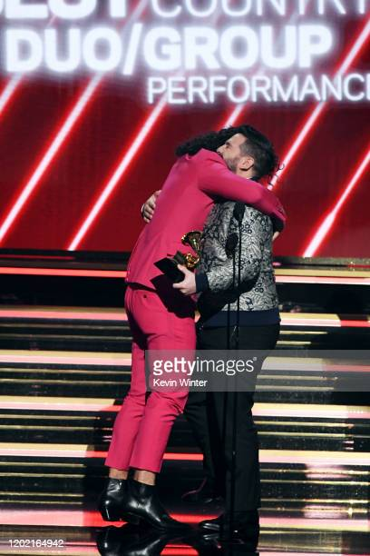 Dan Smyers and Shay Mooney of music group Dan Shay accept the Best Country Duo/Group Performance award for 'Speechless' onstage during the 62nd...