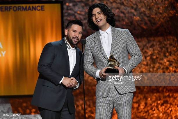 Dan Smyers and Shay Mooney of musical duo Dan Shay accept the award for Best Country Duo/Group Performance for 'Tequila' speaks onstage at the...