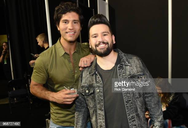 Dan Smyers and Shay Mooney of musical duo Dan Shay attend the 2018 CMT Music Awards Backstage Audience at Bridgestone Arena on June 6 2018 in...