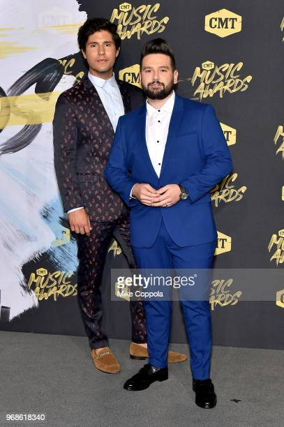 Dan Smyers and Shay Mooney of musical group Dan Shay attend the 2018 CMT Music Awards at Bridgestone Arena on June 6 2018 in Nashville Tennessee