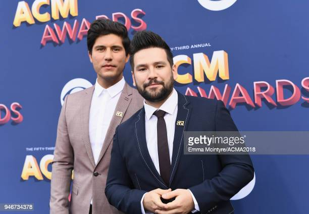 Dan Smyers and Shay Mooney of musical group Dan Shay attends the 53rd Academy of Country Music Awards at MGM Grand Garden Arena on April 15 2018 in...