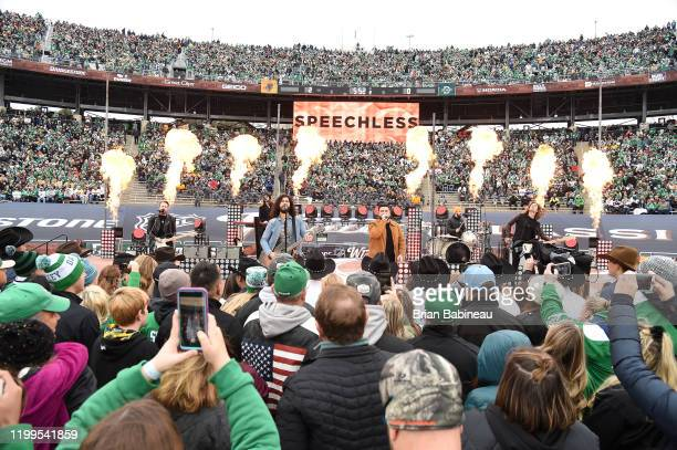 Dan Smyers and Shay Mooney of the musical duo Dan and Shay perform onstage during the first intermission of the 2020 NHL Winter Classic between the...