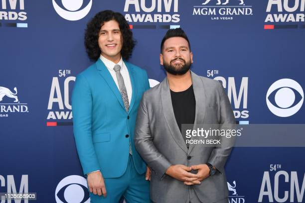 Dan Smyers and Shay Mooney of US musical duo Dan Shay arrive for the 54th Academy of Country Music Awards on April 7 at the MGM Grand Garden Arena in...
