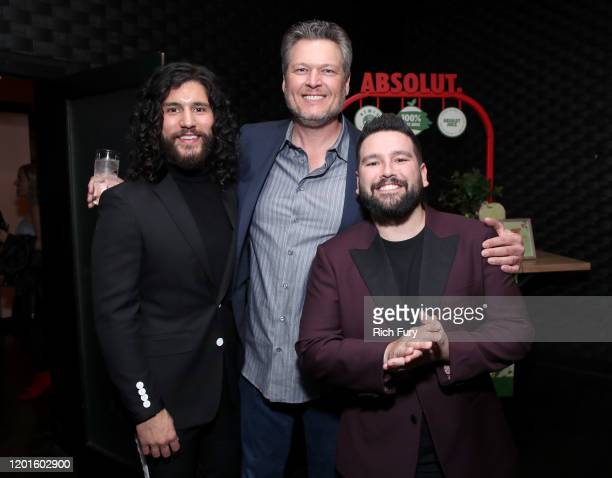 Dan Smyers, Blake Shelton and Shay Mooney attend the Warner Music Group Pre-Grammy Party at Hollywood Athletic Club on January 23, 2020 in Hollywood,...