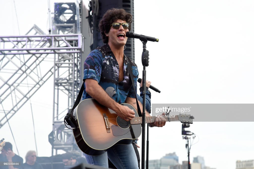 Dan Smyers of Dan and Shay performs on stage at the Spotify's Hot Country Live Series with Carrie Underwood, Dan + Shay and Filmore at Pier 17 on July 4, 2018 in New York City.