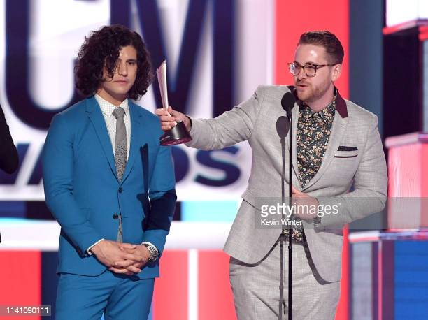 Dan Smyers of Dan Shay and Jordan Reynolds accept the Song of the Year award for 'Tequila' onstage during the 54th Academy Of Country Music Awards at...