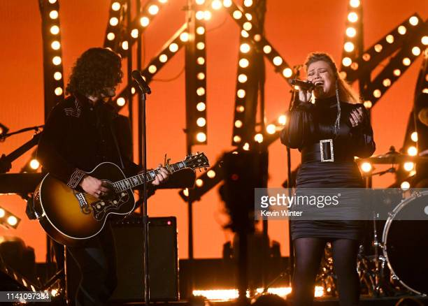 Dan Smyers of Dan Shay and Kelly Clarkson perform onstage during the 54th Academy Of Country Music Awards at MGM Grand Garden Arena on April 07 2019...