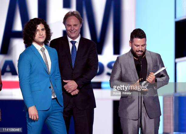 Dan Smyers of Dan Shay Scott Hendricks and Shay Mooney of Dan Shay accept the Single of the Year award for 'Tequila' onstage during the 54th Academy...