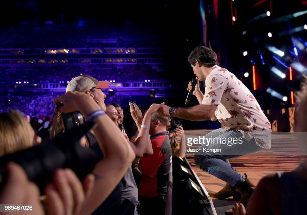 Dan Smyers of musical duo Dan Shay performs onstage during the 2018 CMA Music festival at the Nissan Stadium on June 7 2018 in Nashville Tennessee
