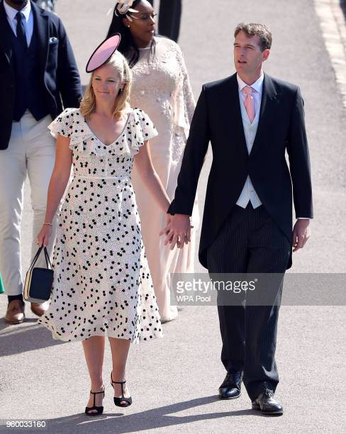 Dan Snow and Lady Edwina Louise Grosvenor arrive at St George's Chapel at Windsor Castle for the wedding of Meghan Markle and Prince Harry on May 19...