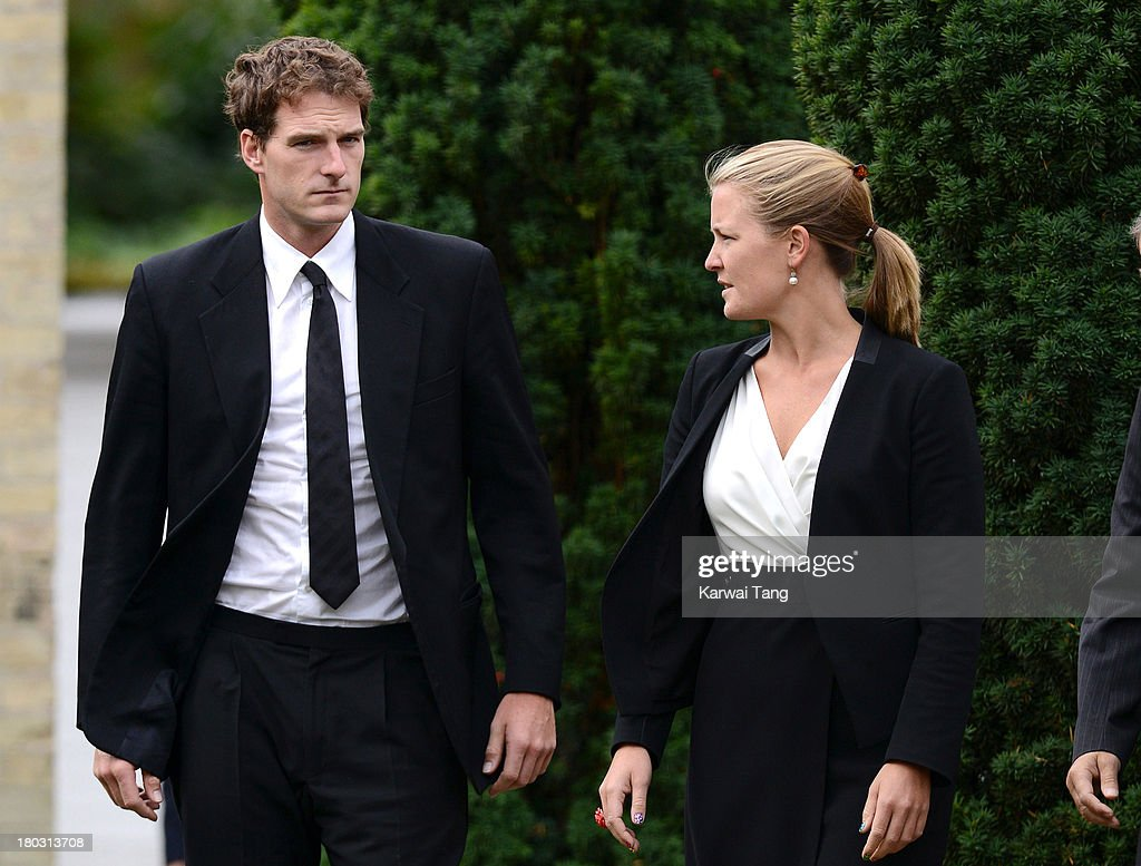 Dan Snow and Lady Viola Grosvenor attend a Requiem Mass for Hugh van Cutsem who passed away on September 2nd 2013 at Brentwood Cathedral on September 11, 2013 in Brentwood, England.