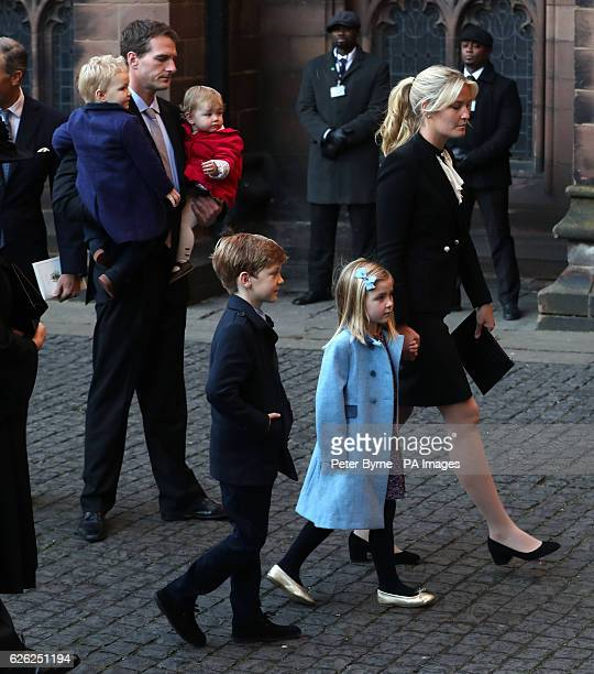 Dan Snow and wife Lady Edwina Grosvenor and their children arriving for a memorial service to celebrate the life of her father the sixth Duke of...