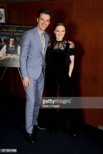 Dan Stevens and Morfydd Clark attend the UK premiere of 'The Man Who Invented Christmas' at Curzon Cinema Mayfair on November 23 2017 in London...