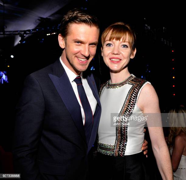 Dan Stevens and Susie Hariet attend the 26th annual Elton John AIDS Foundation Academy Awards Viewing Party at The City of West Hollywood Park on...