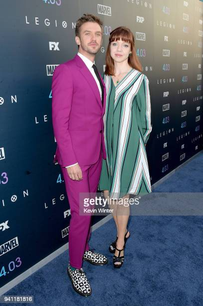 Dan Stevens and Susie Stevens attend the premiere of FX's 'Legion' Season 2 at DGA Theater on April 2 2018 in Los Angeles California