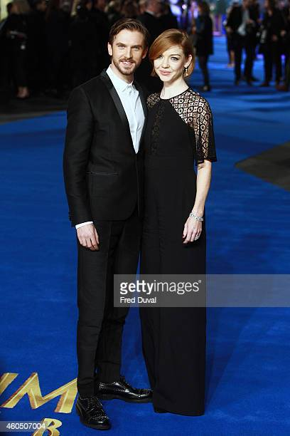 Dan Stevens and Susie Stevens attends the UK Premiere of 'Night At The Museum Secret Of The Tomb' at Empire Leicester Square on December 15 2014 in...
