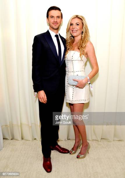 Dan Stevens and Tyler Ellis attend the 26th annual Elton John AIDS Foundation Academy Awards Viewing Party at The City of West Hollywood Park on...