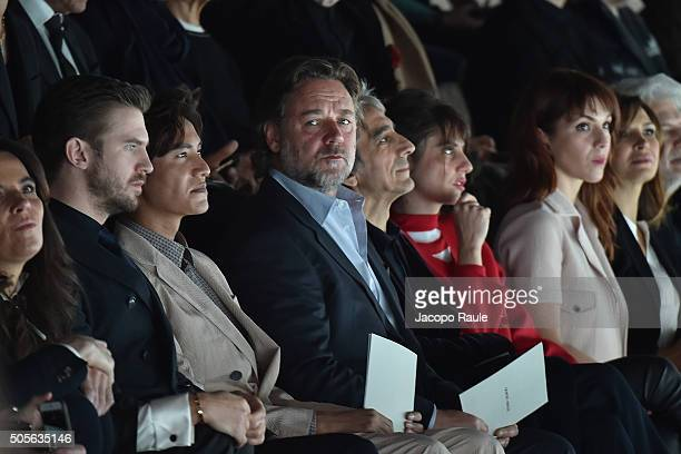 Dan Stevens Chen Kun Russel Crowe Sergio Rubini and Carla Cavalluzzi attend the Giorgio Armani show during Milan Men's Fashion Week Fall/Winter...