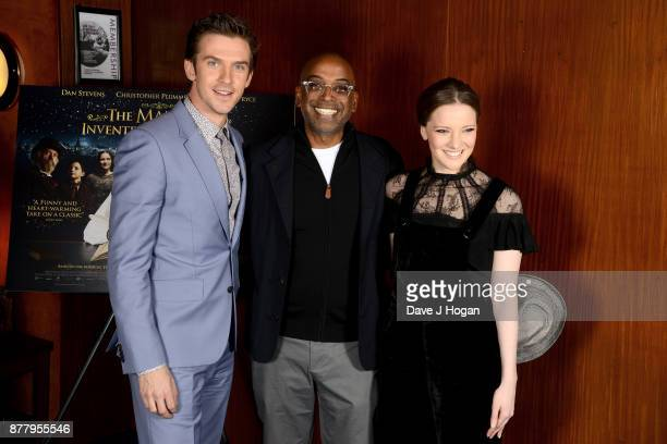 Dan Stevens director Bharat Nalluri and Morfydd Clark attend the UK premiere of 'The Man Who Invented Christmas' at Curzon Cinema Mayfair on November...