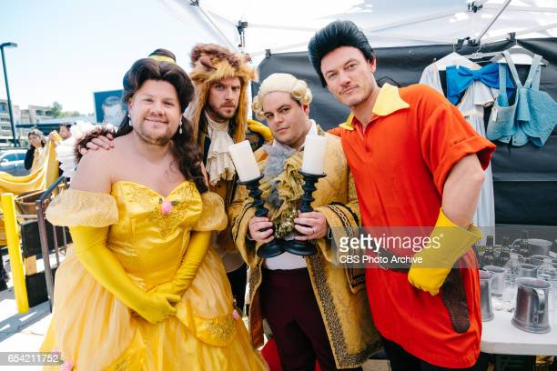 Dan Stevens Luke Evans and Josh Gad performs Crosswalk the Musical Beauty and the Beast with James Corden during 'The Late Late Show with James...