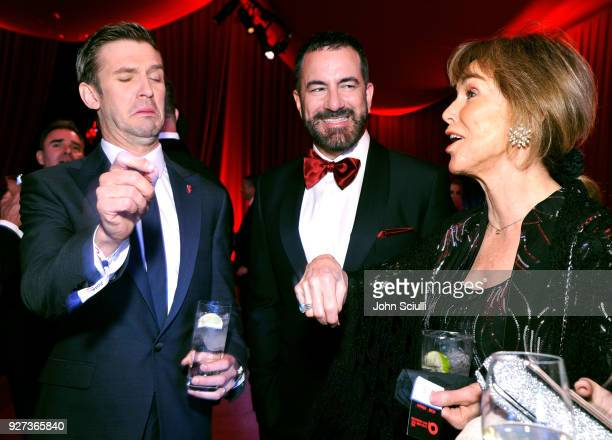 Dan Stevens Michael Maccari and Barbara Gallagher attend the 26th annual Elton John AIDS Foundation Academy Awards Viewing Party at The City of West...