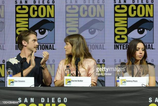 Dan Stevens Rachel Keller and Aubrey Plaza speak onstage at the Legion discussion and QA during ComicCon International 2018 at San Diego Convention...