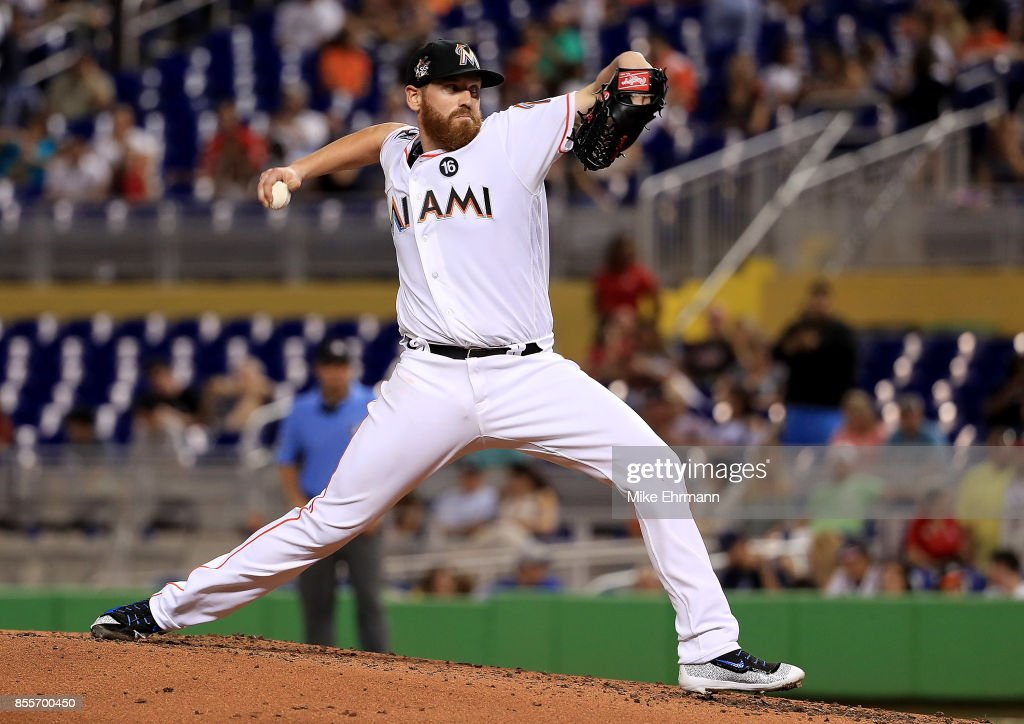 Dan Straily #58 of the Miami Marlins pitches during a game against the Atlanta Braves at Marlins Park on September 29, 2017 in Miami, Florida.