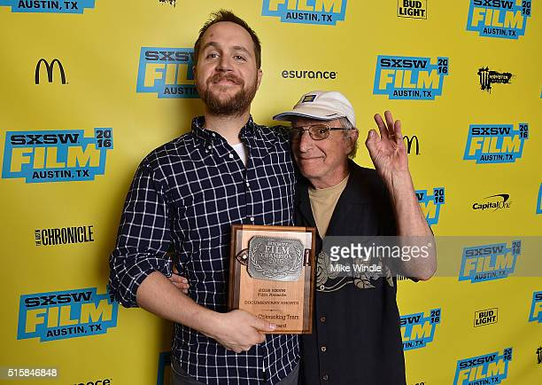 Dan Taberski winner of the documentary short award for 'These C*cksucking Tears' and Patrick Haggerty pose during the SXSW Film Awards Presented by...