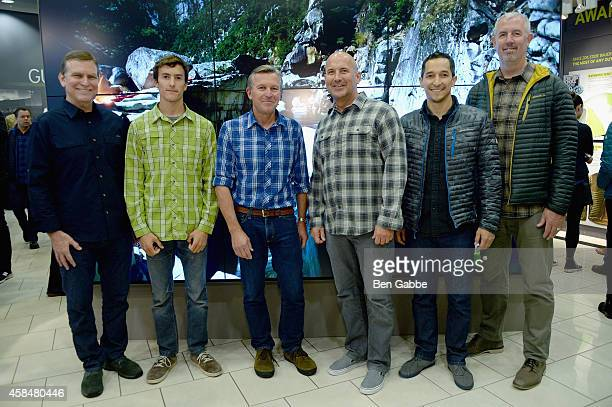 Dan Templin Mason Earle Ed Viesturs Mike Egeck Damien Huang and Bill Bredy attend the Eddie Bauer NYC Store Opening on November 5 2014 in New York...